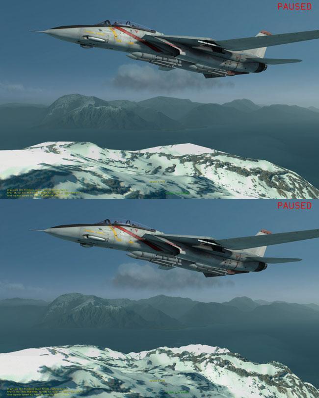Effekten av tesselering i spill. Den er slått av øverst, og er på nederst i bildet. Legg merke til hvor mye mer detaljrikt fjellet er.