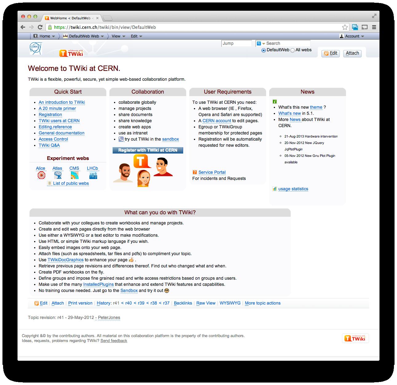 Forsiden til TWiki.