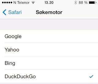 DuckDuckGo dukker opp som alternativ også i iOS 8.