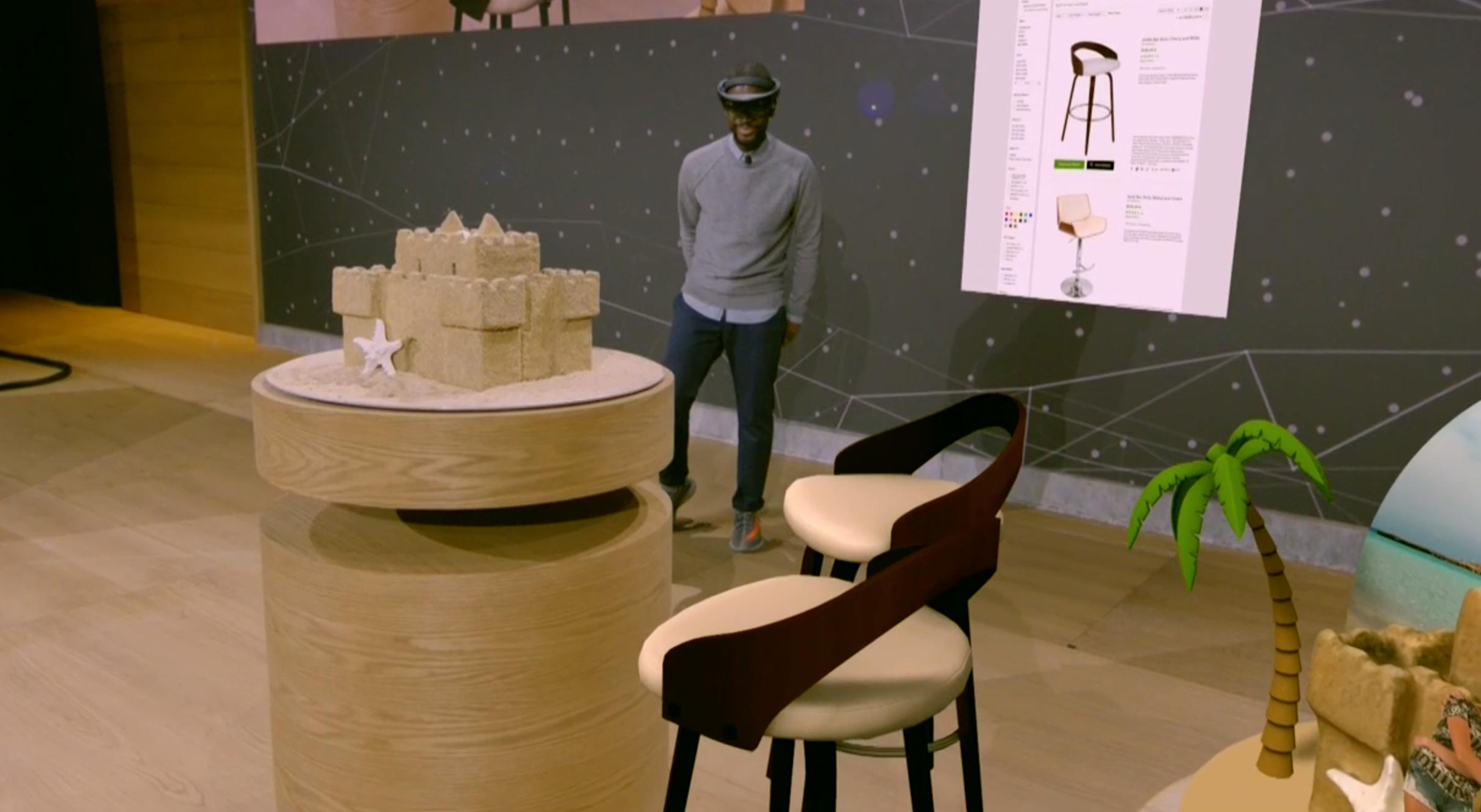 Online-shopping kan være ganske kult med Hololens, ettersom man kan få en forhåndsvisning av produktet direkte i stua.