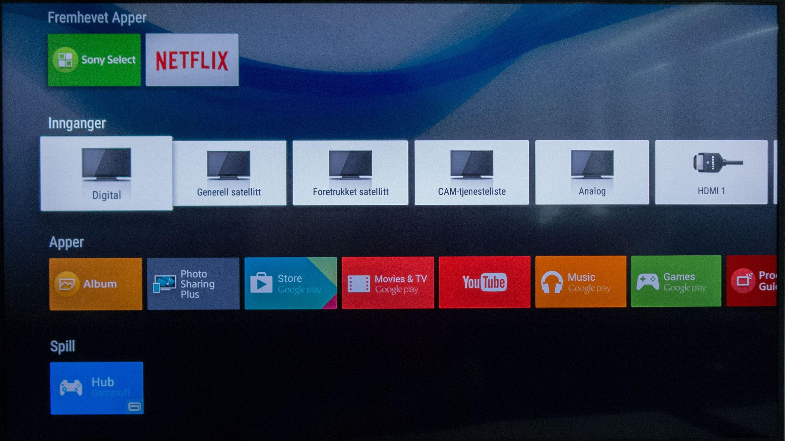 Android-menyene er satt opp i rekker etter kategorier. Foto: Ole Henrik Johansen / Tek.no