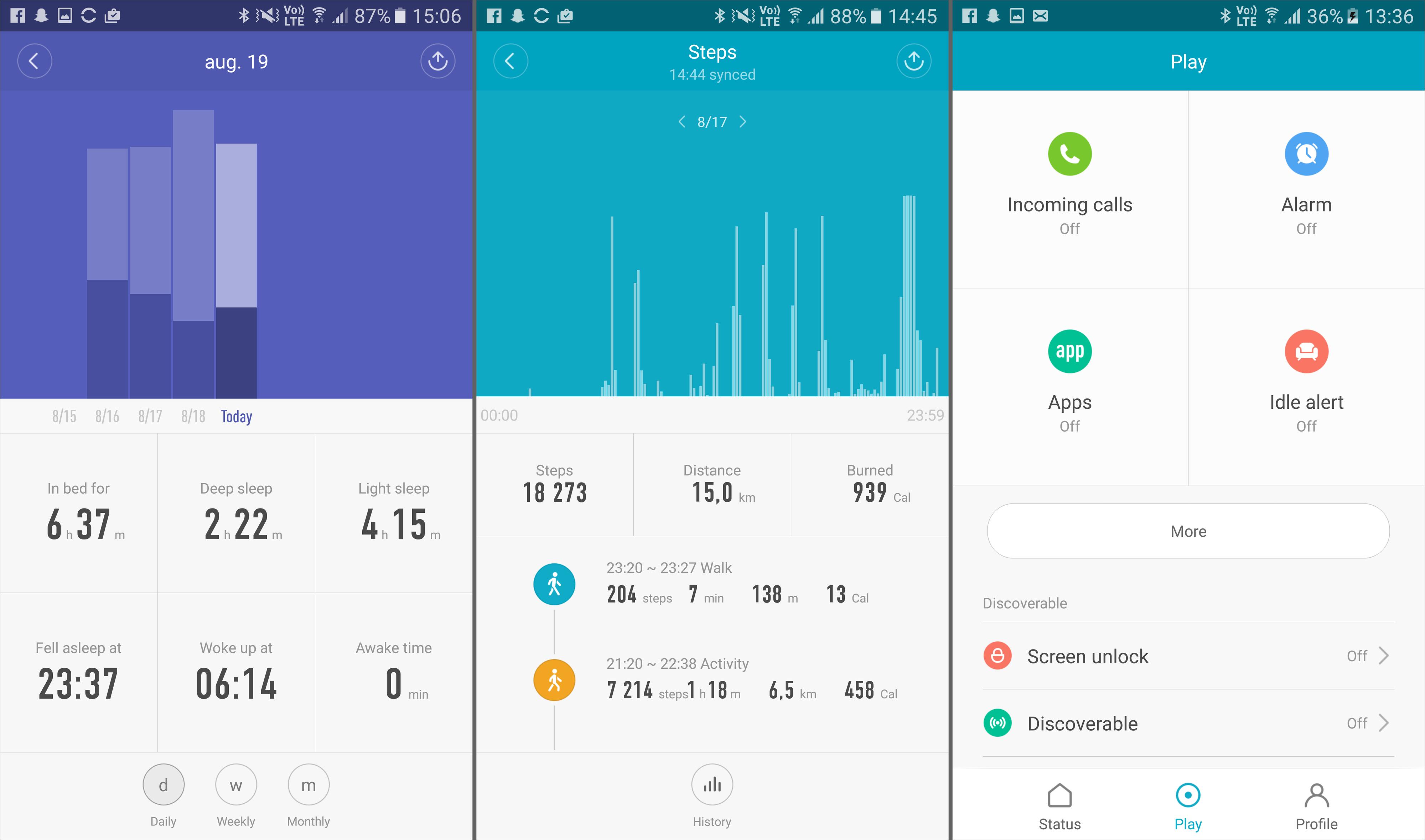 Mi Fit-appen er ikke av de mest oversiktlige vi har sett, men gjør nytten. Fra venstre: Logging av søvn, logging av skritt og oppsett av blant annet varsling fra mobilen.