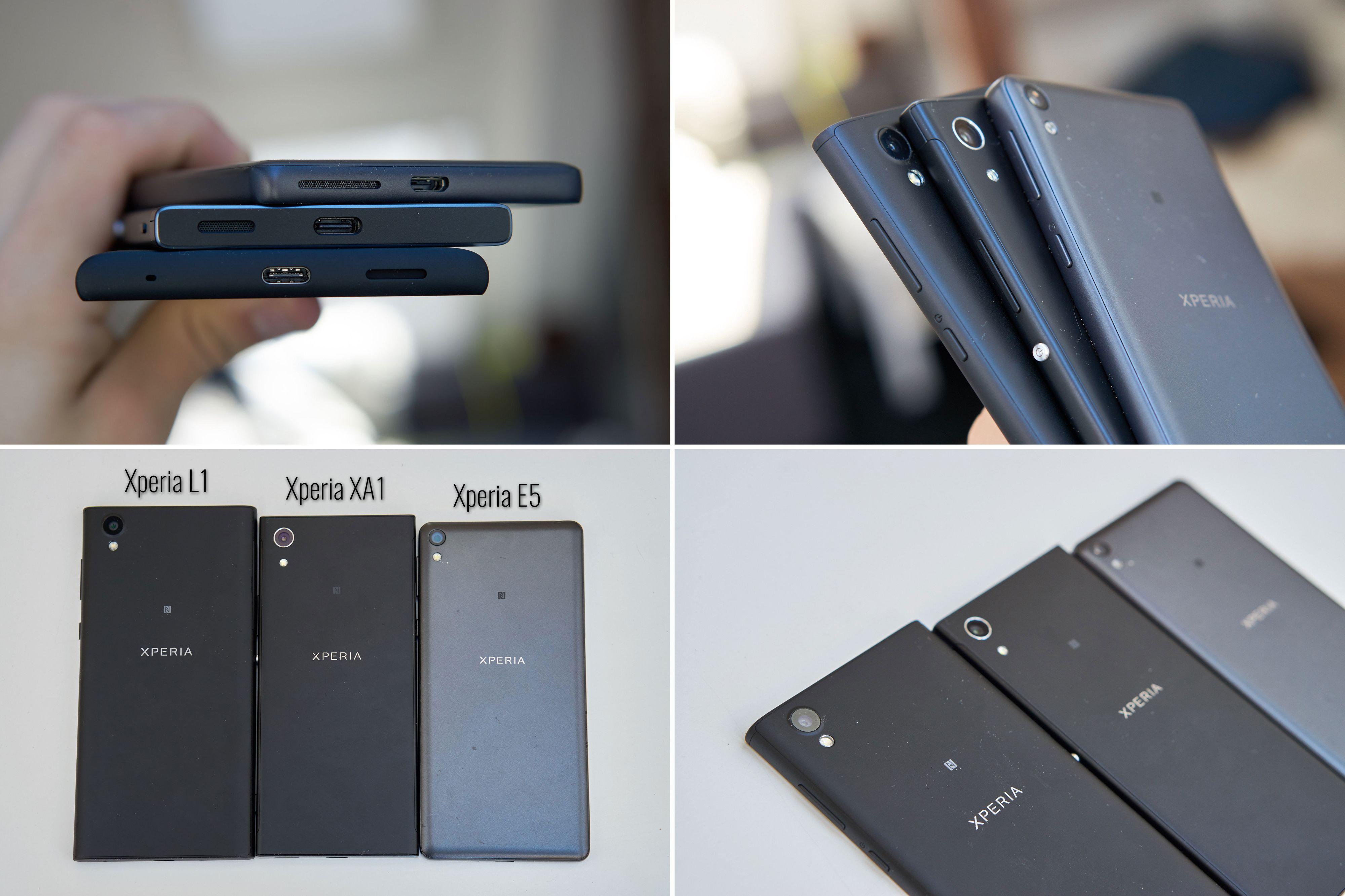 Designet på Sonys billigmodeller er ganske likt – spesielt deler Xperia XA1 og Xperia L1 mye. Klikk for større bilde.