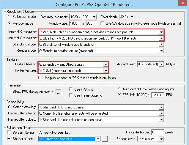 Anbefalte innstillinger for ePSXe-emulatoren.