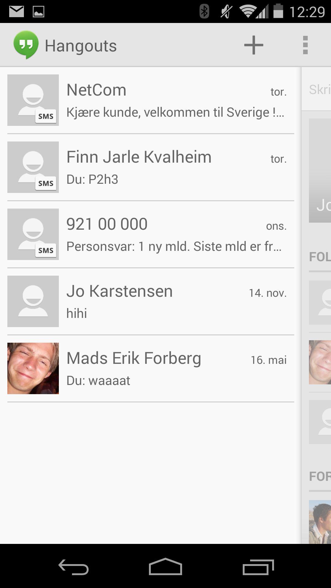 Hangouts samler lynmeldinger, meldinger til kretser på Google+, og SMS i en og samme app.Foto: Finn Jarle Kvalheim, Amobil.no