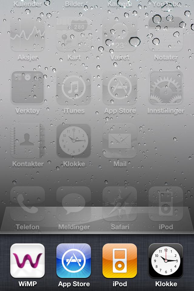 Wimp kjører i bakgrunnen, sammen med Iphones egne applikasjoner.