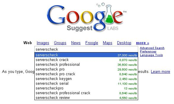 Google foreslår at du laster ned en crack