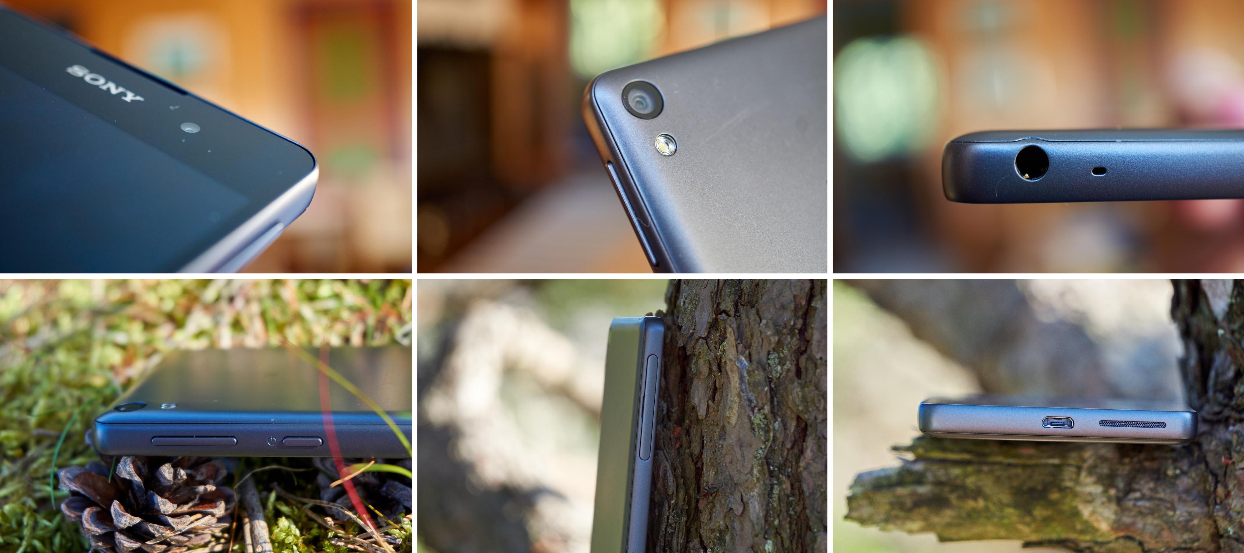 Xperia E5 er en stilren telefon, og rent umiddelbart ble vi lurt til å tro at rammen var av metall. Øverst til venstre kan du se den opphøyde rammen, og legg også merke til den avrundede baksiden.