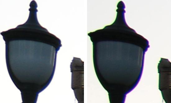Forskjellen med og uten automatisk korrigering er betydelig på denne brennvidden.