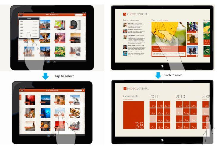 I Metro-appene (til høyre) brukes fingerbevegelser for å navigere, i stedet for å gå via menyelementer, som på iPad. Ved å klype to fingre sammen over et bilde vises en oversikt over måneder og år, slik at du raskt kan hoppe direkte til alle bildene som er tatt en bestemt måned.