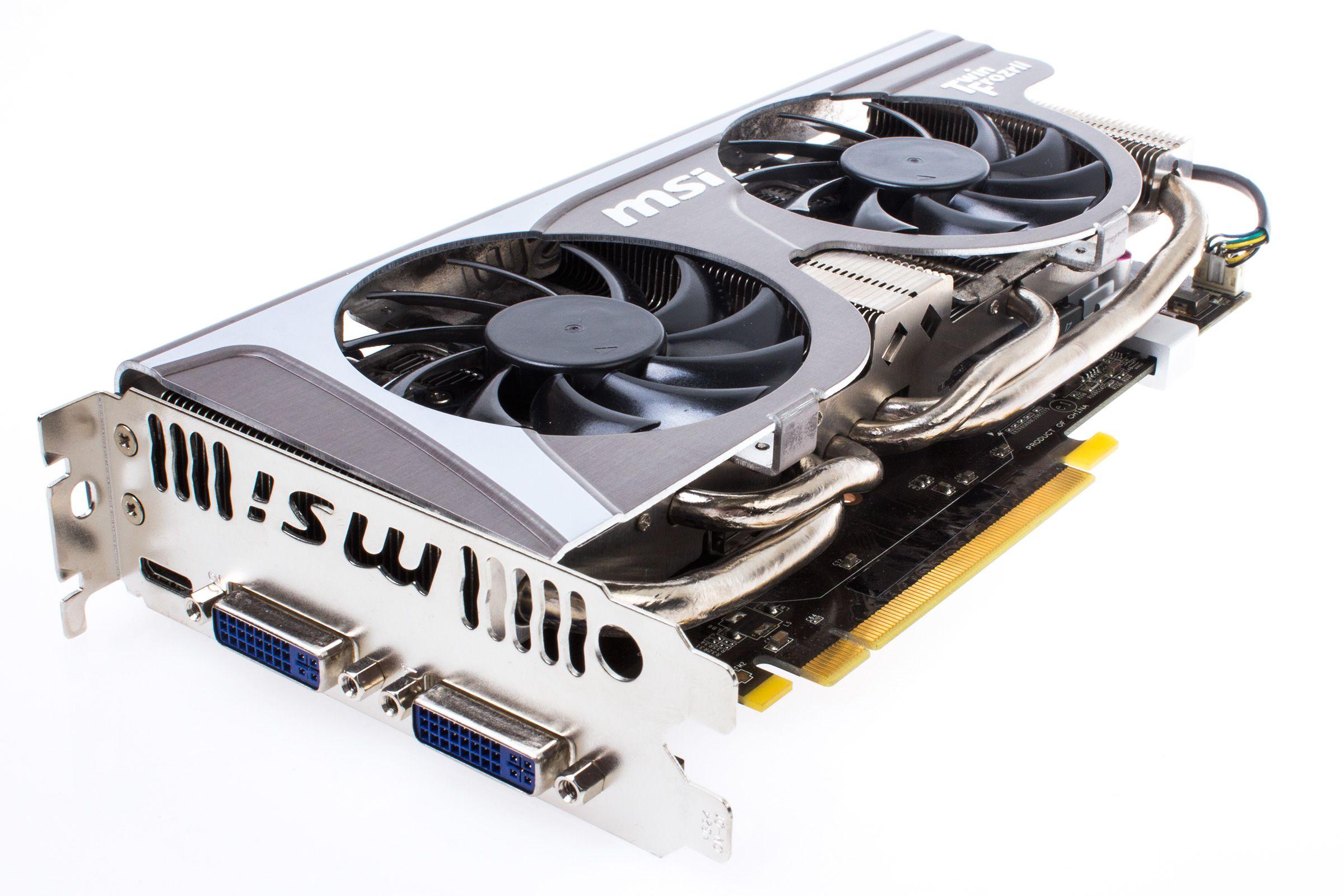 MSIs TwinFrozr II-kjøler, nesten uendret fra Radeon HD 5870 Lightning, begynte å trekke litt på årene innen GeForce GTX 560 Ti kom ut.Foto: Varg Aamo, Hardware.no