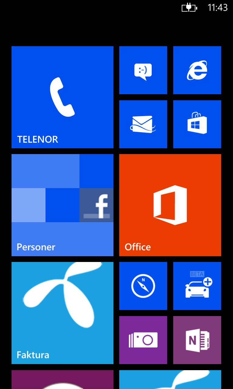 Startskjermen til Windows Phone 8.