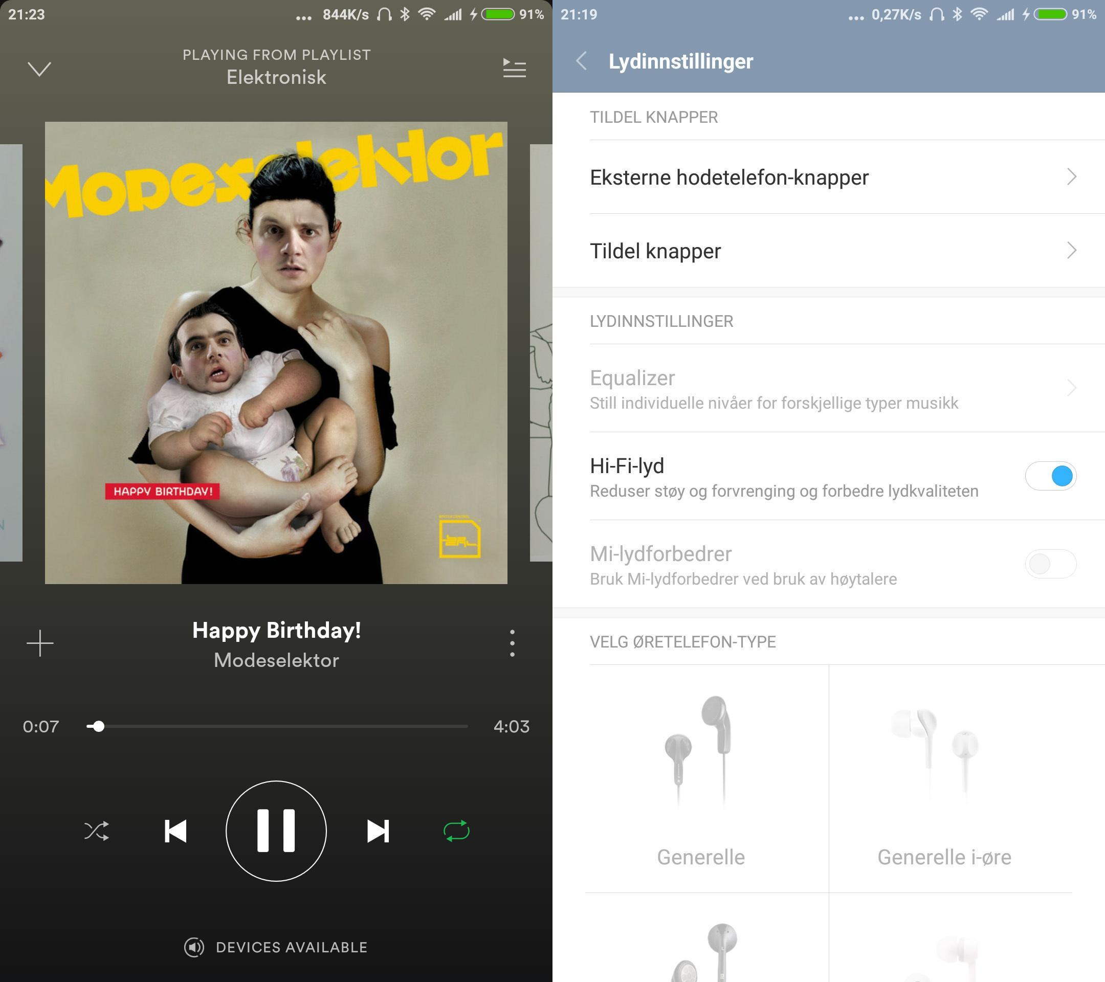 Lydkvaliteten i Mi Mix er vanvittig god, så lenge det er snakk om typiske portable hodetelefoner. Her er ikke LGs lydflaggskip, V20, veldig langt unna på horisonten, men Mi Mix klarer ikke å drive like tungdrevne hodetelefoner. Lydfunksjonene virker uavhengig av hvilken app som spiller musikken, dermed virker Spotify like godt som innebygget spiller.