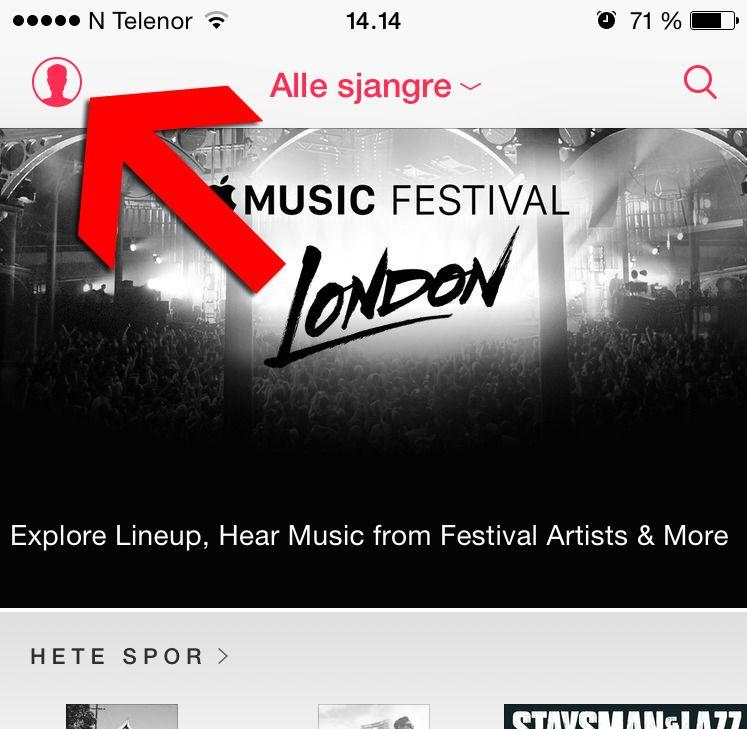 Trykk på Bruker-ikonet i Apple Music.