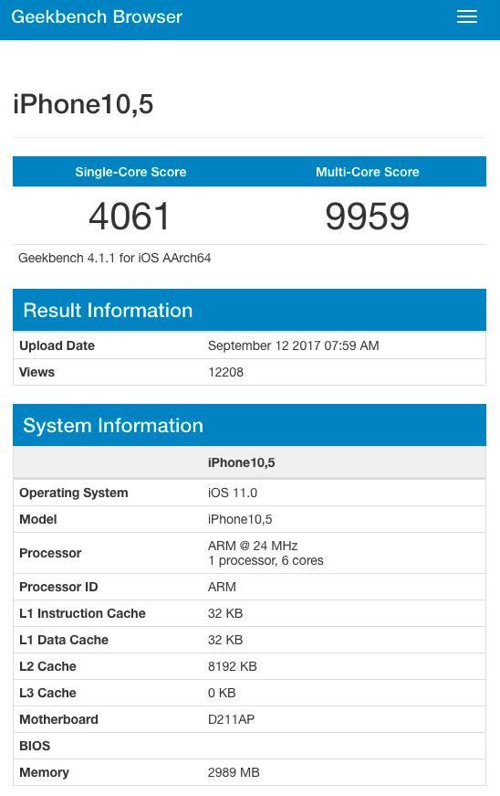 All informasjonen om testen hos Geekbench. Hvorfor prosessorhastigheten rapporteres som 24 MHz er interessant, men kan skyldes at dataene om A11-prosessoren ikke er på plass enda. Det kan selvfølgelig også skyldes at testen er doktorert, men informasjonen ligger i alle fall hos Geekbench, og det er derfor ikke snakk om en falsk skjermdump.
