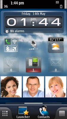 Slik kan den nye hjemmeskjermen se ut med SPB Mobile Shell for Symbian.