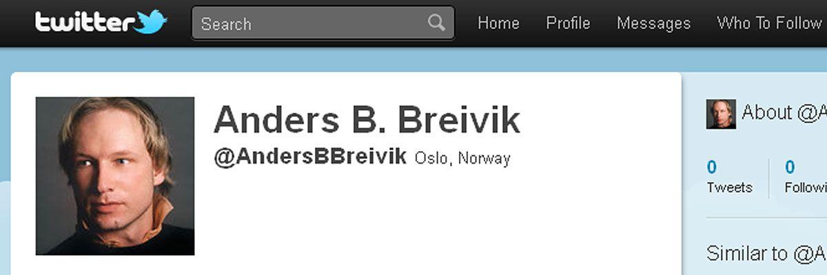 Hacket Breiviks Twitter-konto
