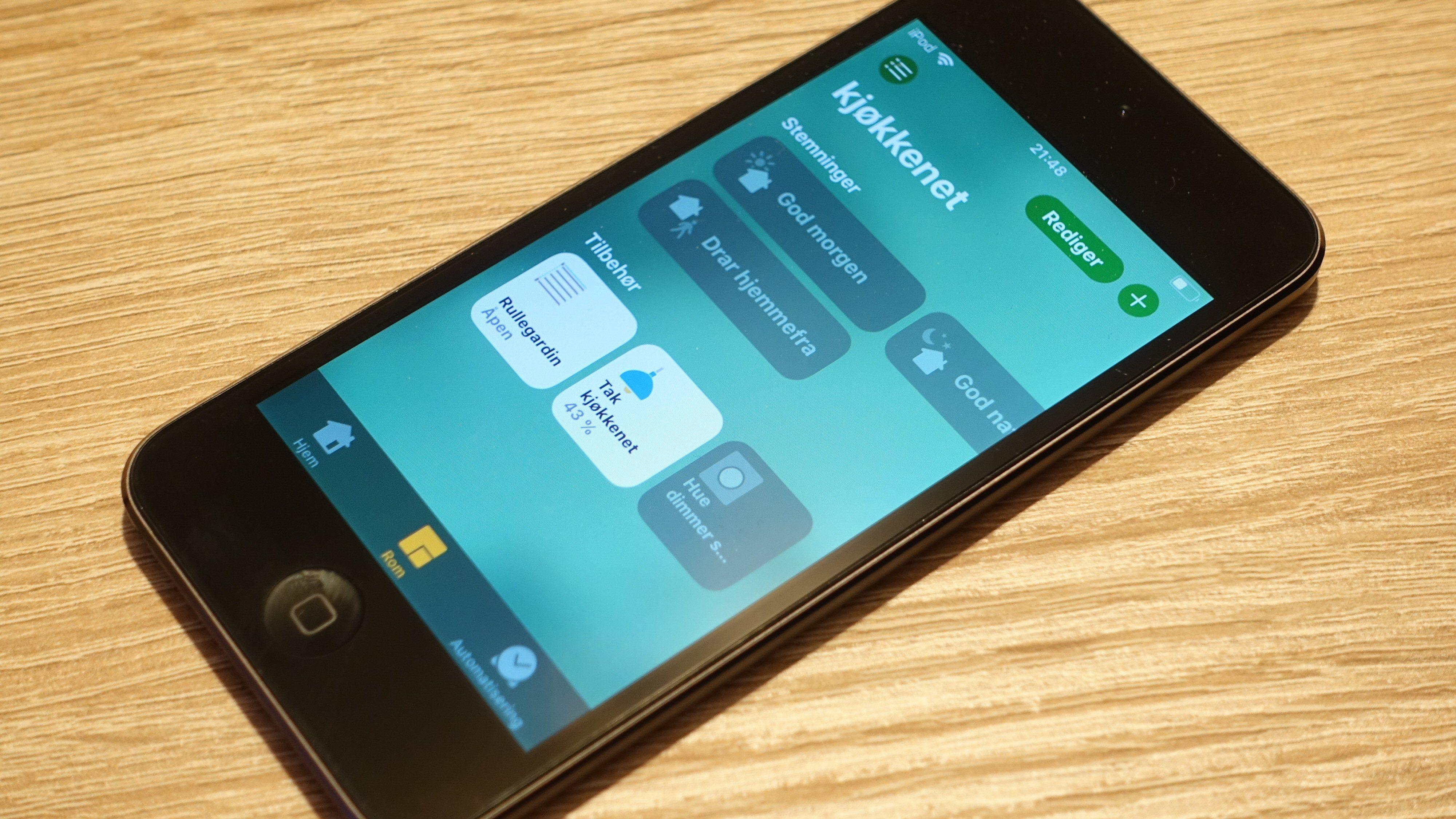 HomeKit lar deg styre hjemmet med en iPod touch, om det skulle være ønskelig.