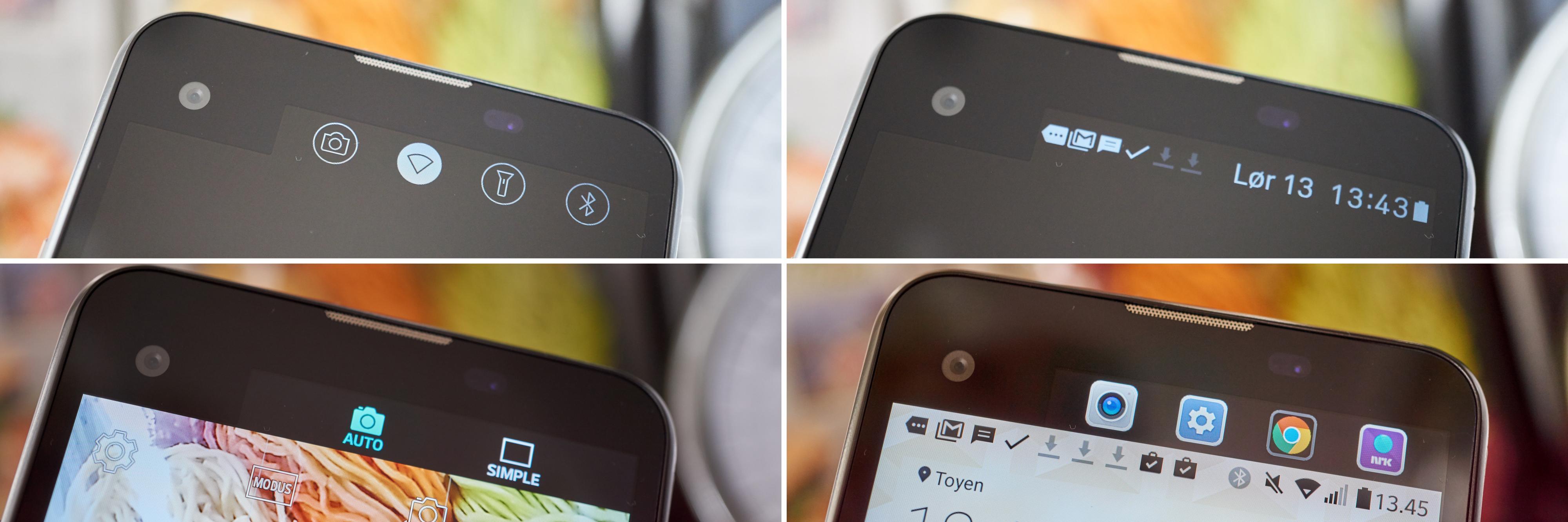 Den ekstra skjermen kan brukes på mange måter. Nederst til venstre ser du også hvordan noen av kameraknappene flyttes ut dit.