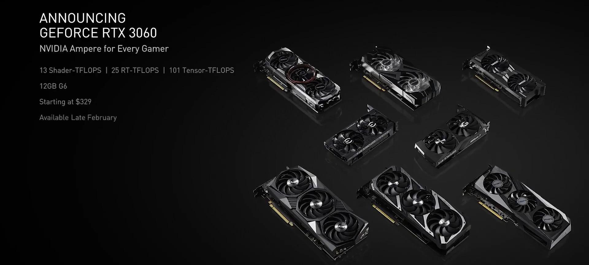 RTX 3060 kommer i ulike varianter, fra tredjepartsprodusenter som MSI, Gigabyte, Evga, Asus og flere i februar.