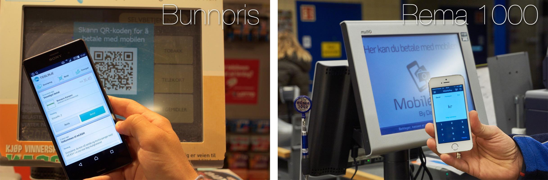QR-kode-løsningene til Bunnpris og Rema 1000 er svært like. Betalingsterminalene likeså.