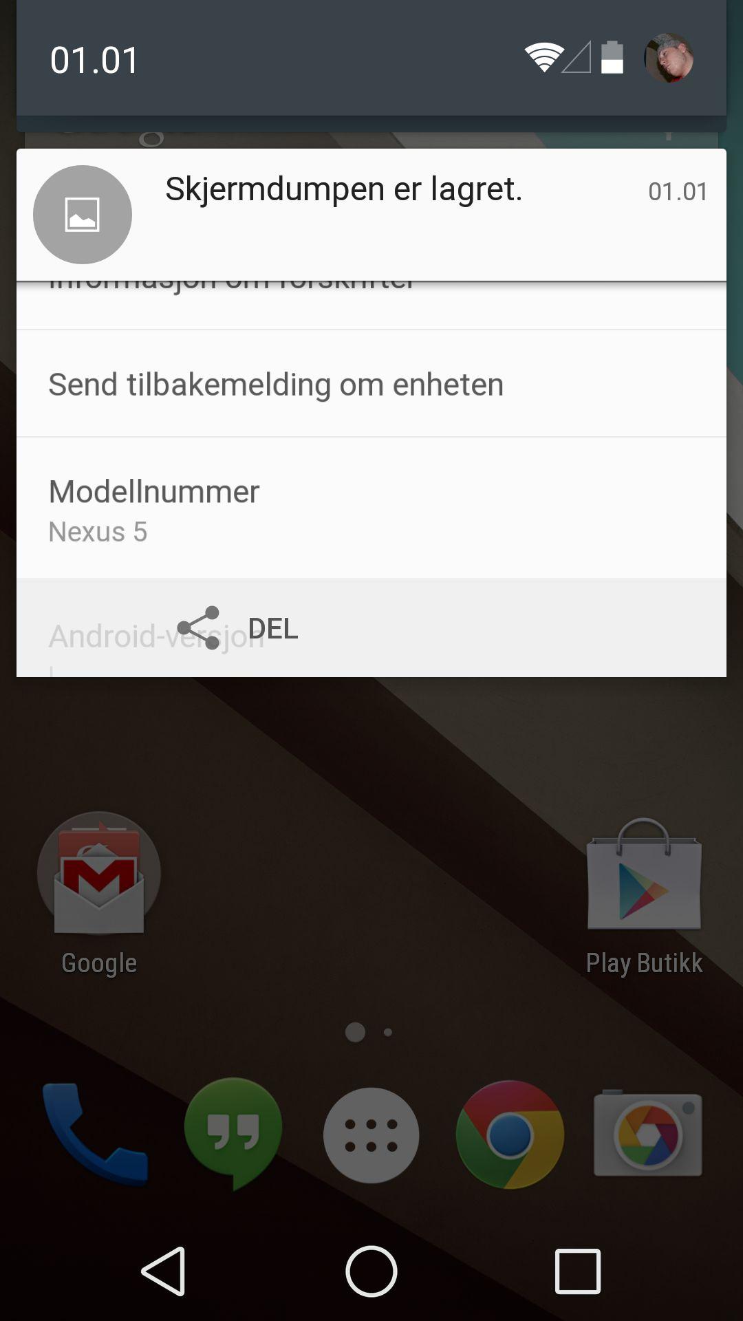Nedtrekksmenyen i nye Android L ser helt annerledes ut enn vi er vant til. Vi trekker ned ett hakk, og får se varslingene.