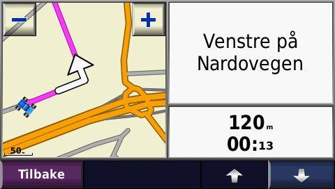 Du har flere visninger å velge mellom i navigasjonsmodus.