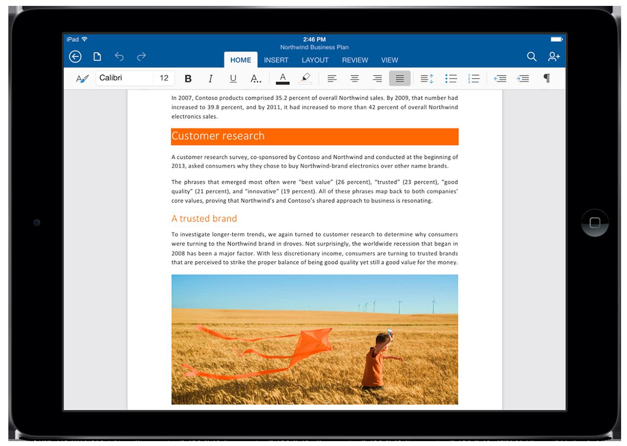 Word for iPad. .Foto: Microsoft
