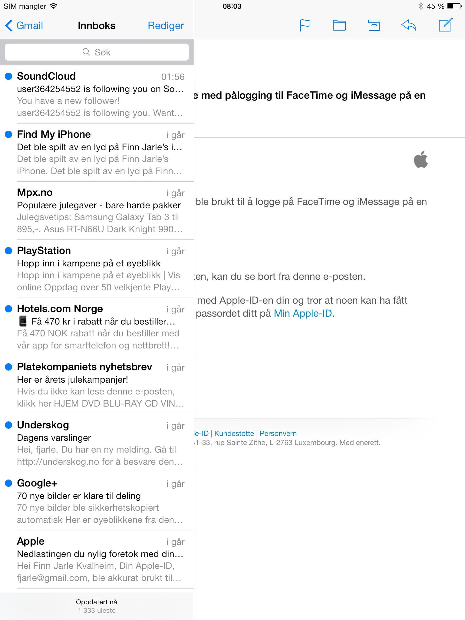 E-postklienten deler design med resten av iOS 7, og har blitt litt enklere å ta i bruk.Foto: Finn Jarle Kvalheim, Amobil.no