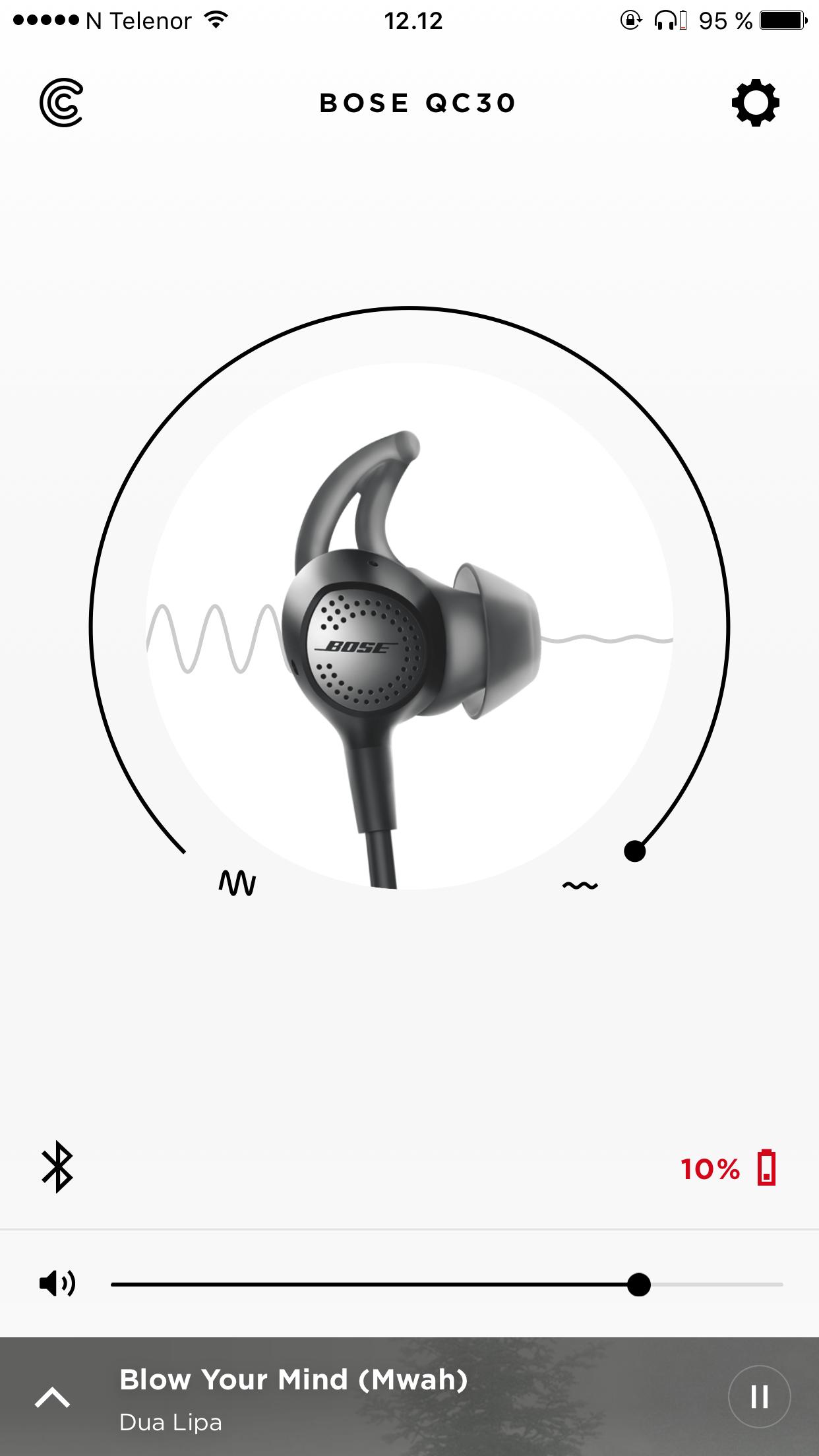 Bose Connect-appen lar deg justere støyreduksjonen sømløst.