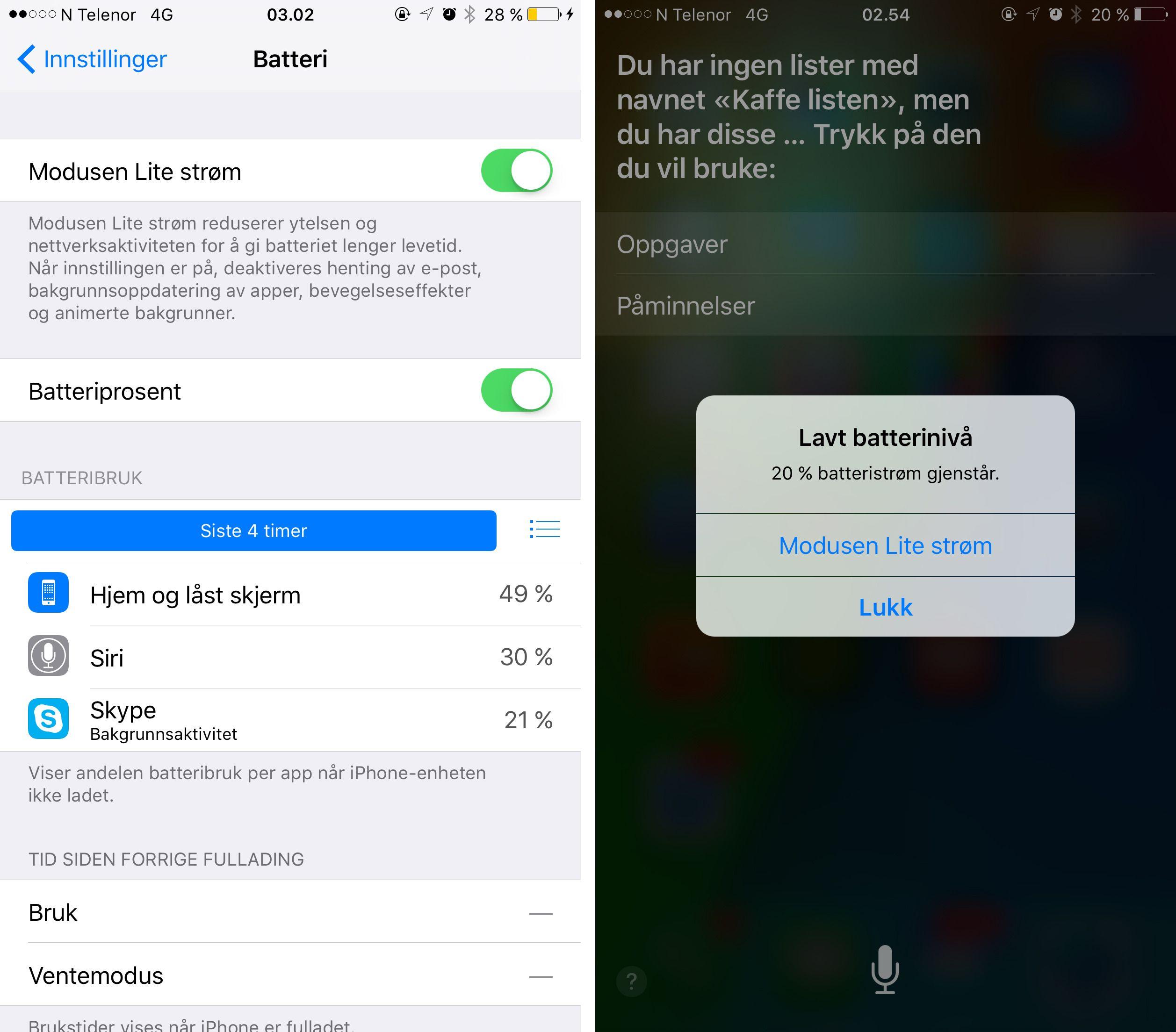 Den nye strømsparefunksjonaliteten i iOS 9 er som snytt ut av USB-kontakten på en Android-telefon. Foto: Finn Jarle Kvalheim, Tek.no