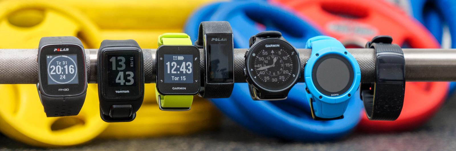 Fra venstre: Polar M430, TomTom Spark 3 Cardio, Garmin Forerunner 35, Polar A370, Garmin Forerunner 235, Suunto Spartan Trainer Wrist HR, Samsung Gear Fit 2 Pro