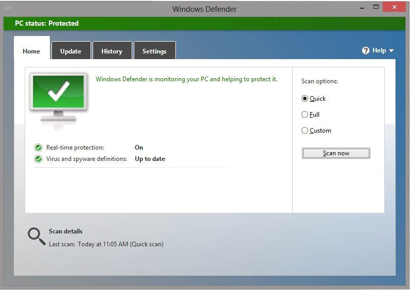 Windows Defender kommer med et gjenkjennelig og enkelt grensesnitt.Foto: Hardware.no