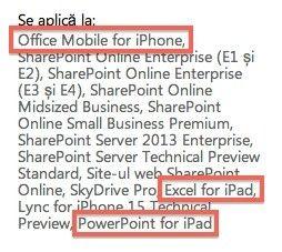 Microsofts franske supportnettsted viser referanser til Office for iPad.