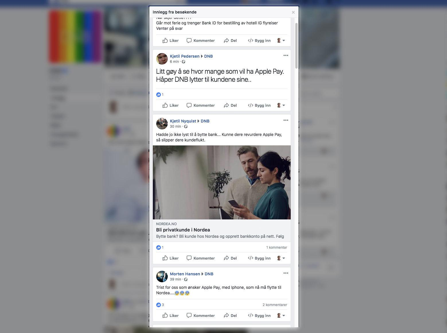 DNB har fått mange henvendelser på Facebook-siden deres fra kunder som ønsker seg Apple Pay.
