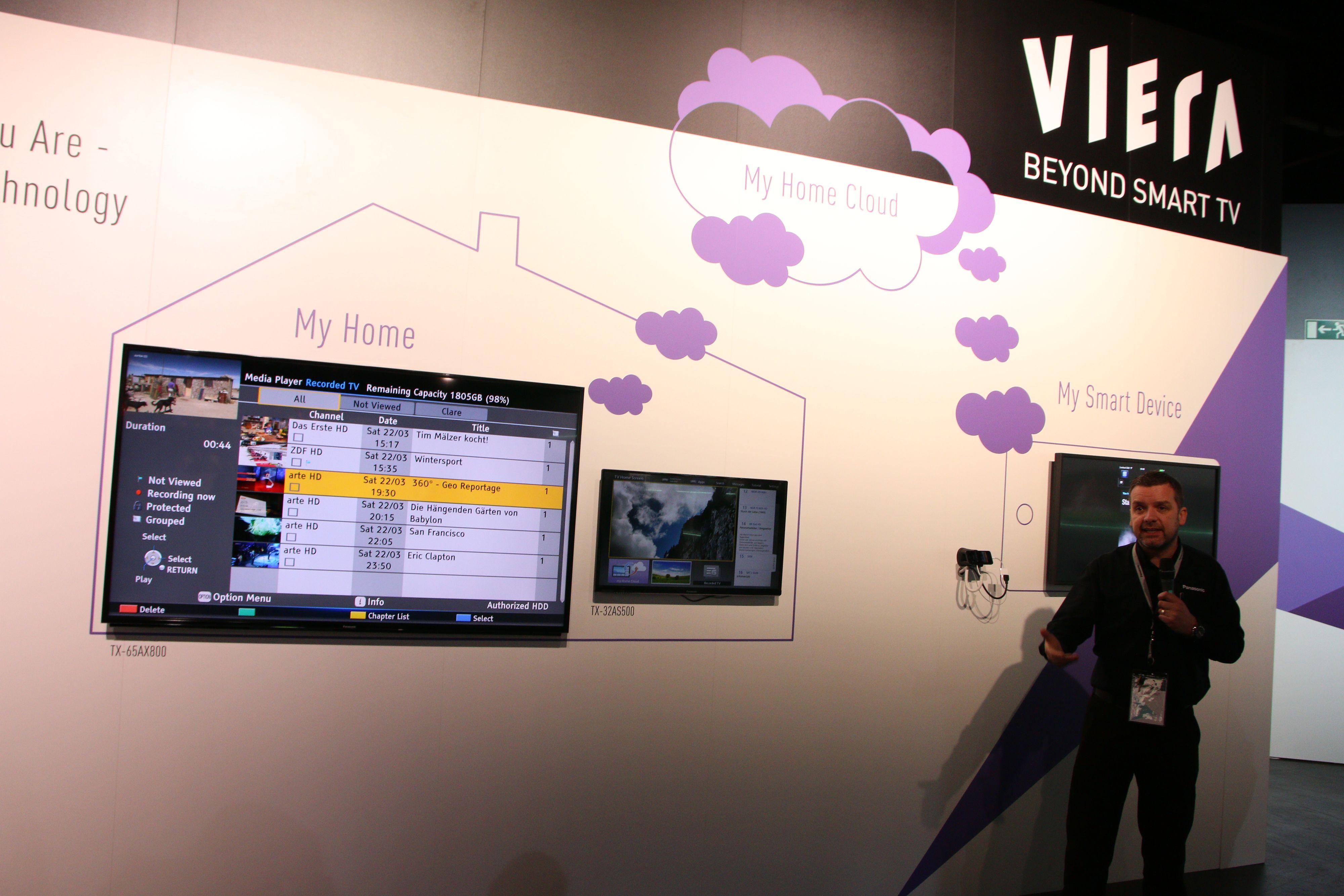 Her er et eksempel på hvordan Panasonic ønsker å bruke skytjenester til å sende over informasjon fra TV-en til mobilen din. .Foto: Ole Henrik Johansen / Hardware.no