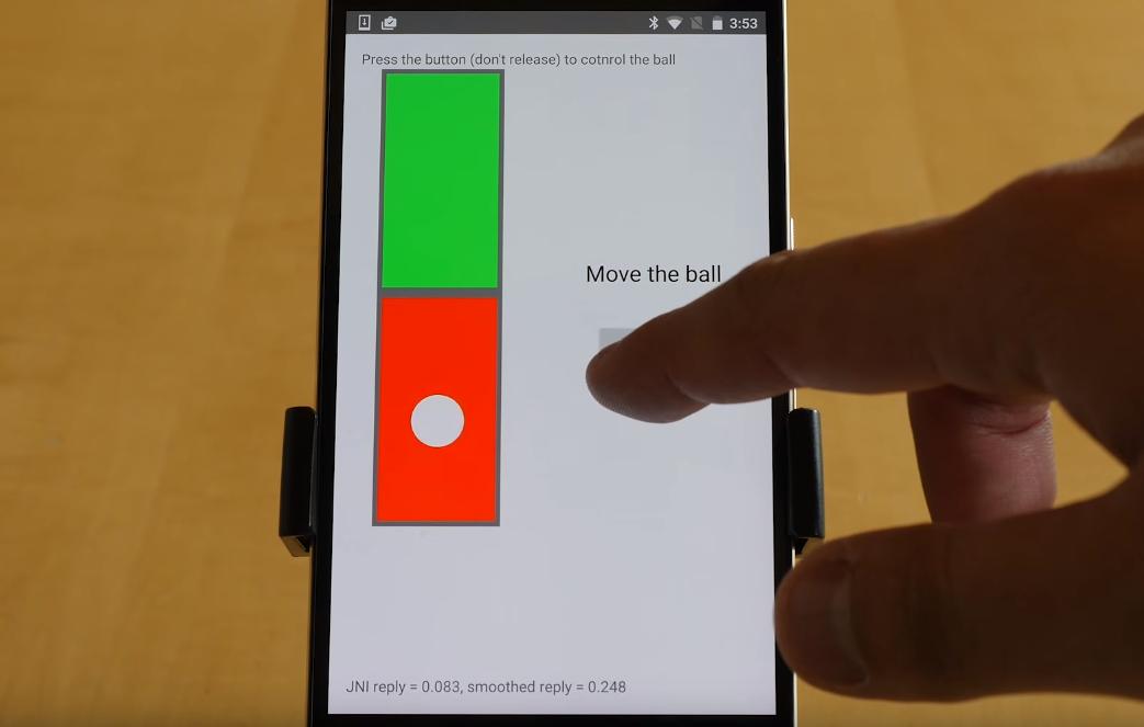 I denne appen brukes teknologien til å bevege en ball ved å trykke på skjermen med ulik kraft.