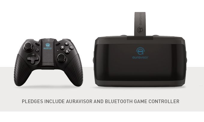 AuraVisor-brillene og den medfølgende Bluetooth- håndkontrollen. Foto: Kickstarter