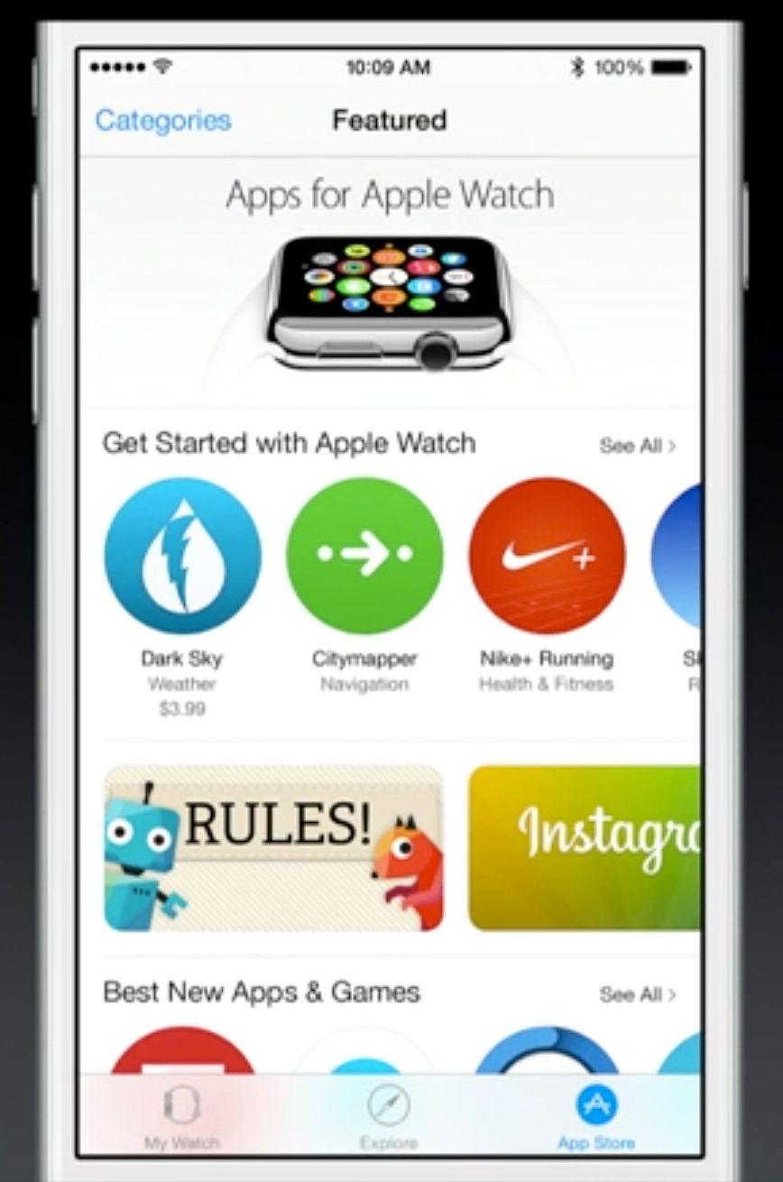 Det vil være en egen seksjon i App Store for Apple Watch-apper.