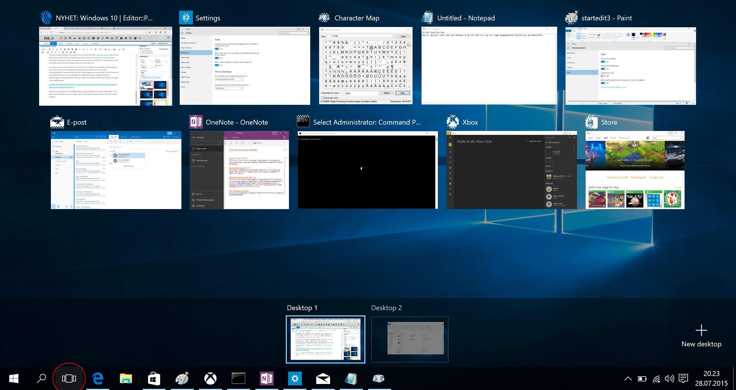 Den nye Task View-knappen fungerer som en snarvei til det som før var Tab + Windows-tast. I tillegg viser den deg hvor mange åpne skrivebord du har. Foto: Finn Jarle Kvalheim, Tek.no