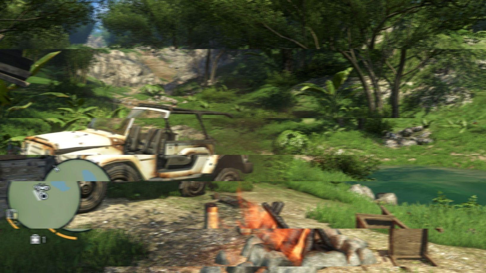 Et eksempel på tearing.Foto: Fingert illustrasjon fra Far Cry 3