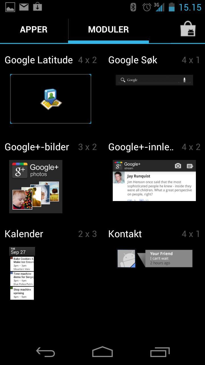 Android 4.0 gir deg enkel og oversiktlig tilgang på småprogrammer rett fra applikasjonsmenyen.