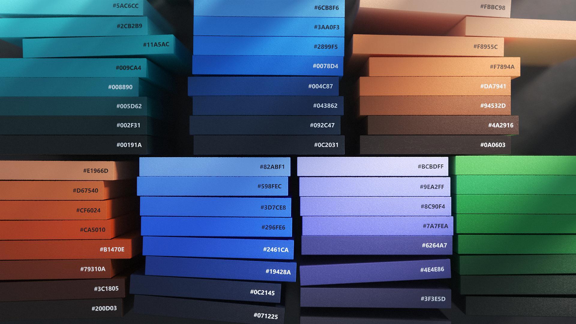Dette er fargepaletten Microsoft landet på i designarbeidet sitt.