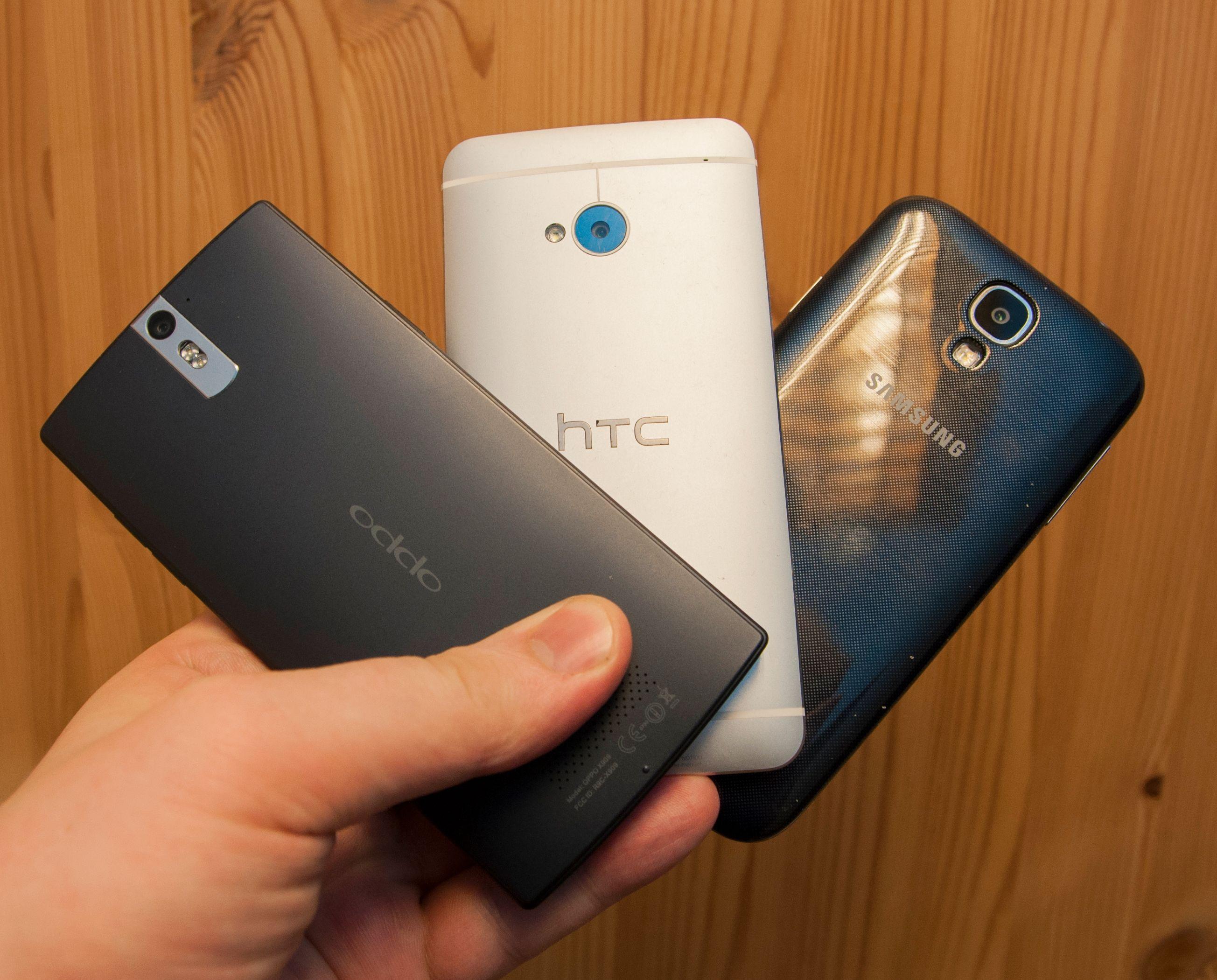 Oppo Find 5, HTC One og Samsung Galaxy S4.Foto: Finn Jarle Kvalheim, Amobil.no