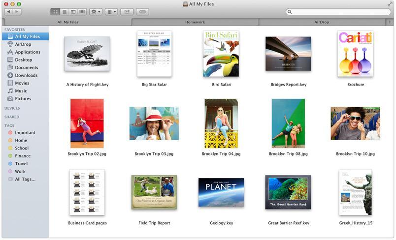 Tags i nye Finder.Foto: Apple