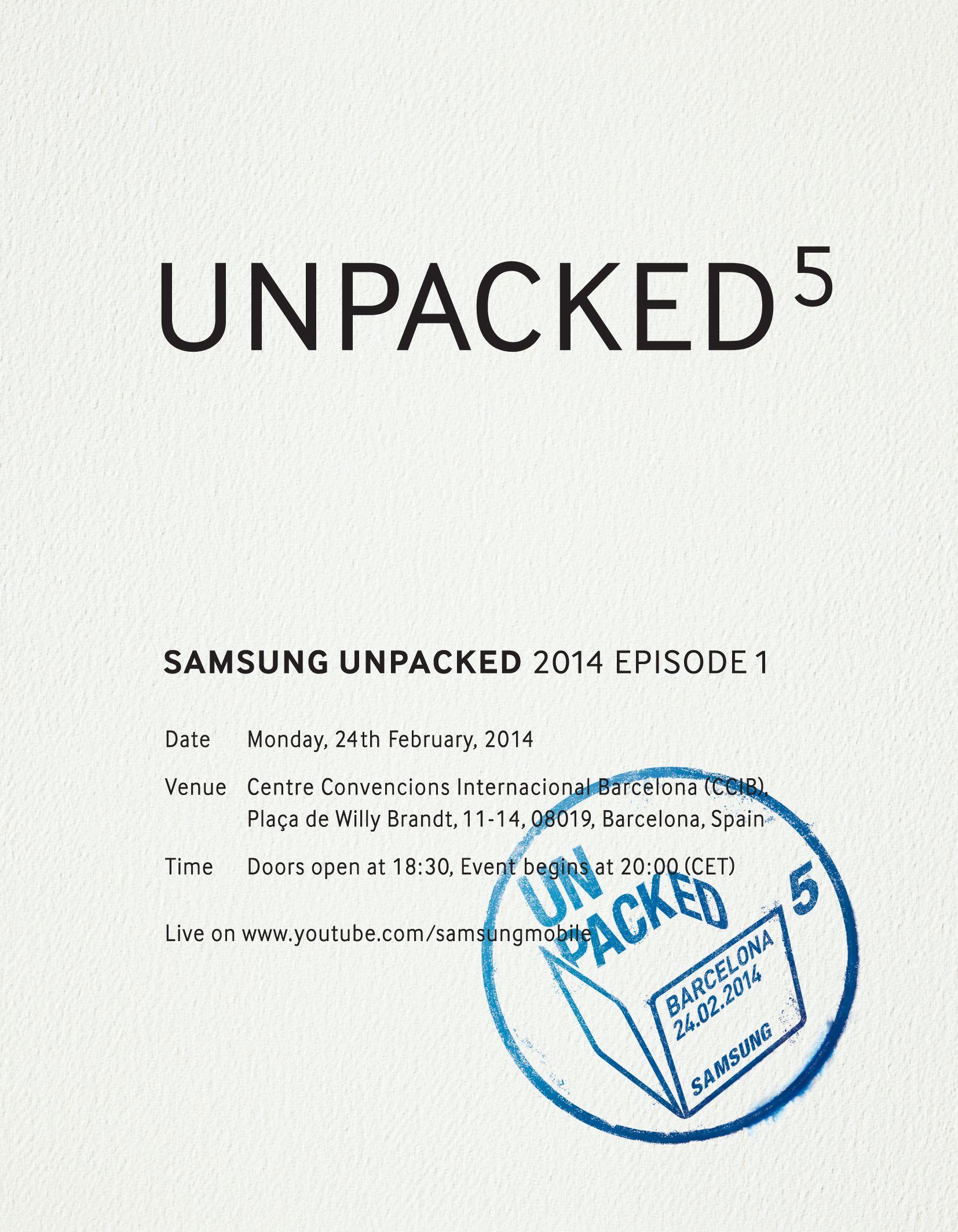 En av innkallingene til Samsungs pressekonferanse i Barcelona.Foto: Samsung