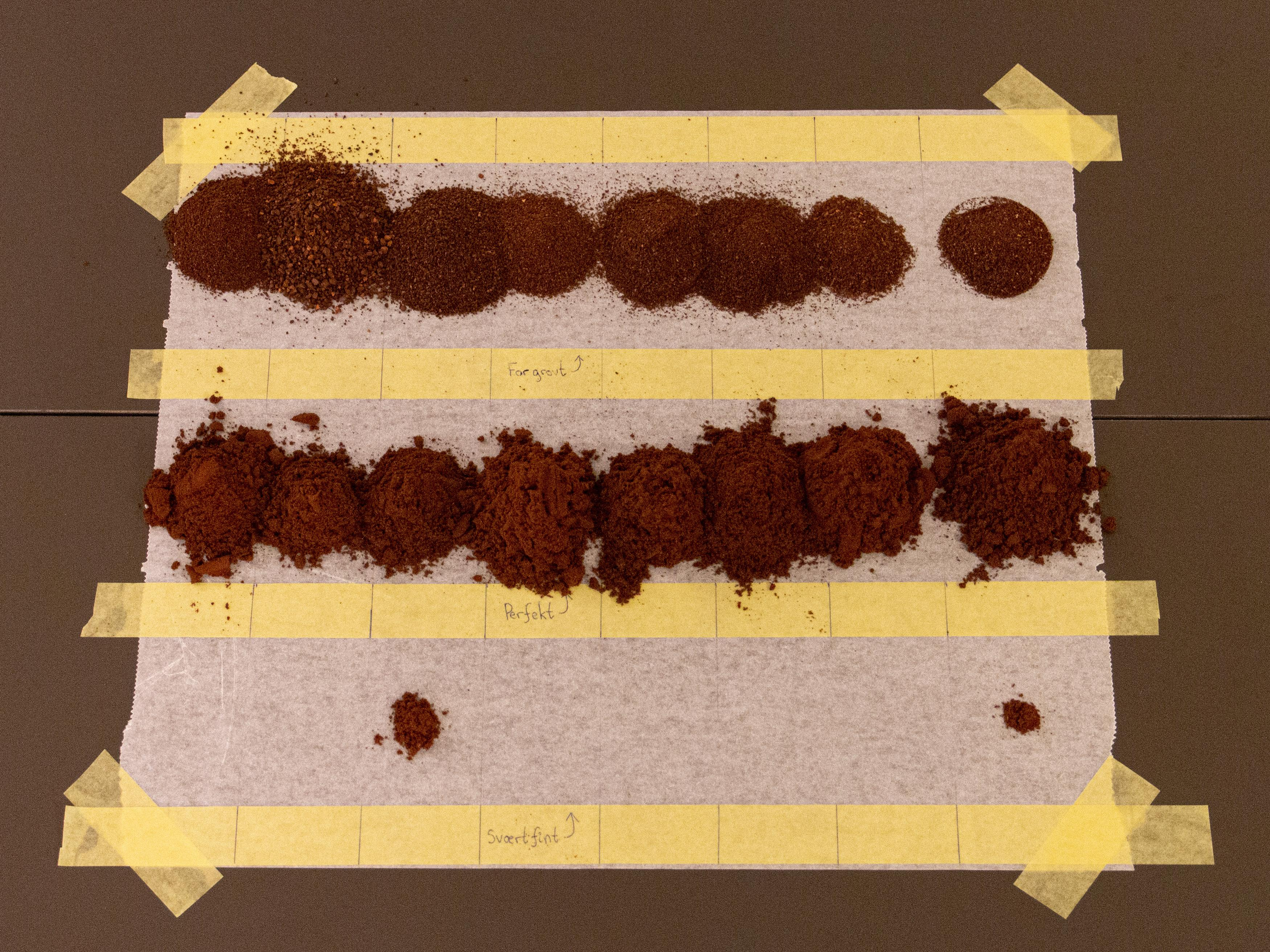 Her har vi malt en av to runder med espresso. De fleste kvernene gir flere for grove enn for fine partikler ut.