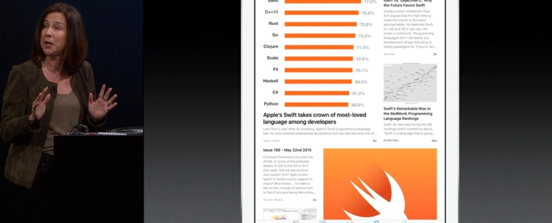Apple demonstrerer søk i News-appen fra scenen.