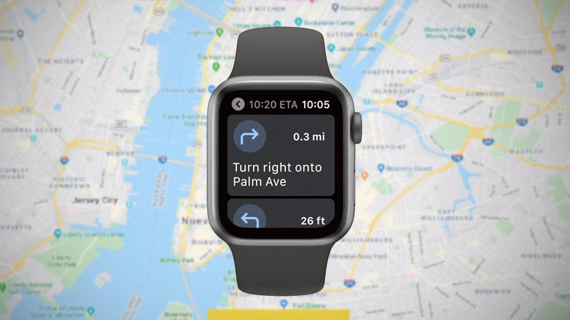 Slik ser brukergrensesnittet til Google Maps ut på Apple Watch.