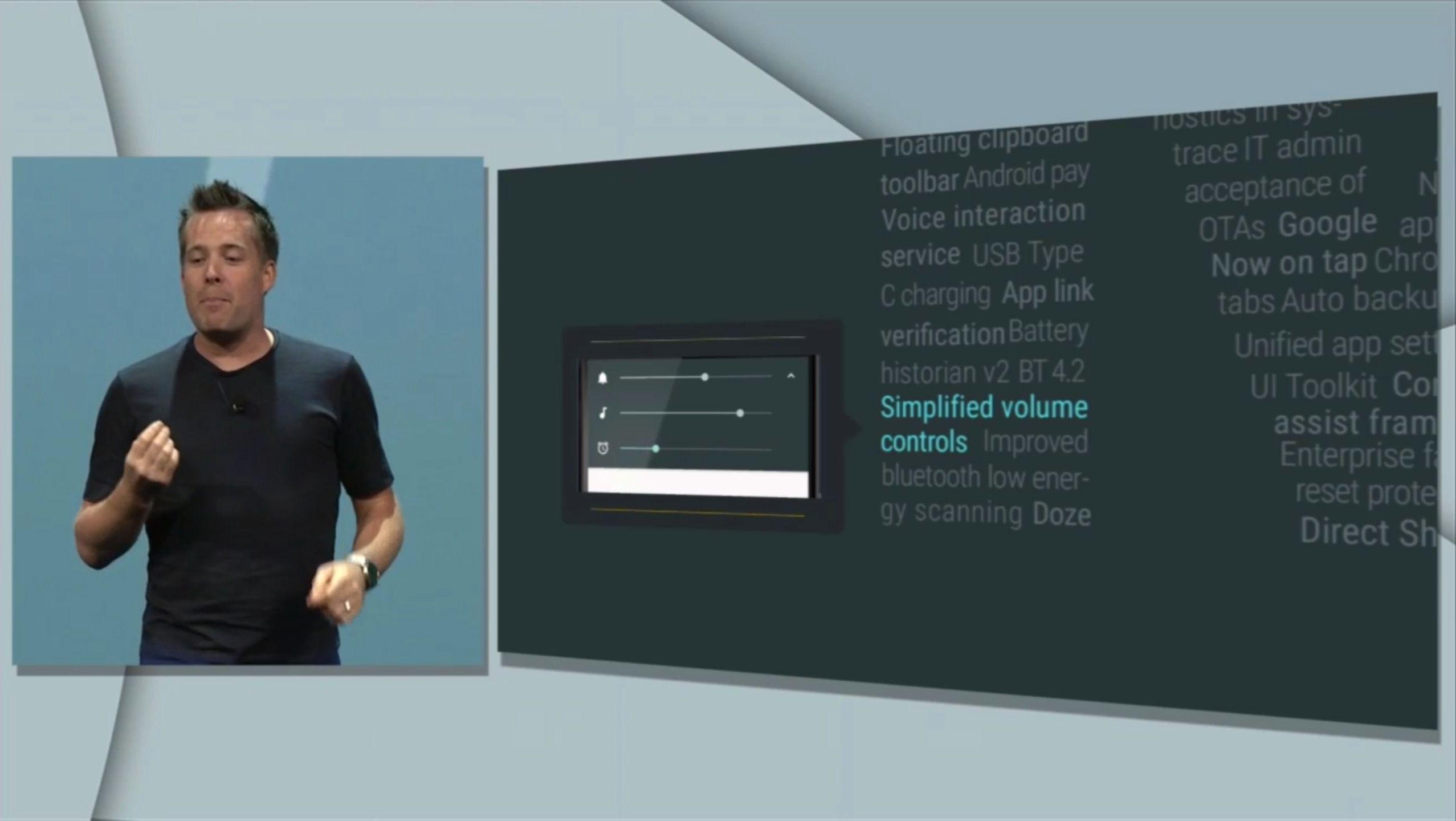 Fra scenen i San Francisco spøkte de med at ikke alle likte endringen i varslinger i Android 5 Lollipop. En ny løsning er på vei i Android M. Foto: Skjermdump, Youtube/Google